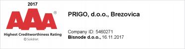 Prigo Highest Creditworthiness Rating Brezovica